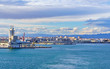 Panorama of Valencia Port in Spain