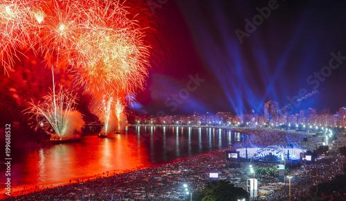 Canvas Prints Rio de Janeiro Iconic and breath-taking fireworks display on Copacabana Beach, Rio de Janeiro, Brazil