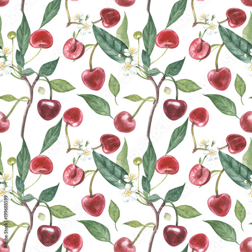 recznie-rysowane-akwarela-wieniec-kwiatow-wisni-i-lisci-ilustracja-akwarela-ilustracja-botaniczna-wzor