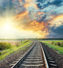 Railroad To Horizon In Colored...