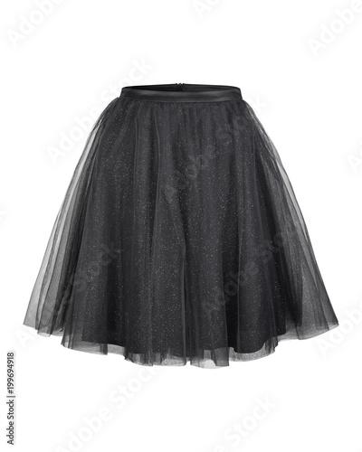 Black tulle ballerina skirt isolated on white Fototapeta