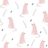 Bezszwowy wzór z śmiesznym różowym lampartem. Wektorowa ręka rysująca ilustracja. - 199695735