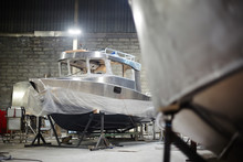 Brand New Boat Made Up Of High Quality Metal As Special Industrial Order