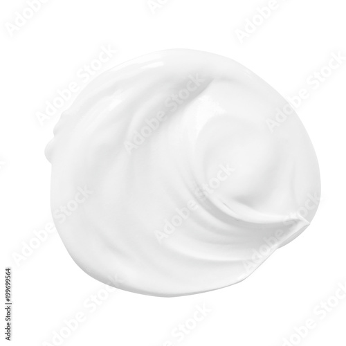 Fotografie, Obraz  Skincare cream for face smooth texture or yogurt isolated on white background
