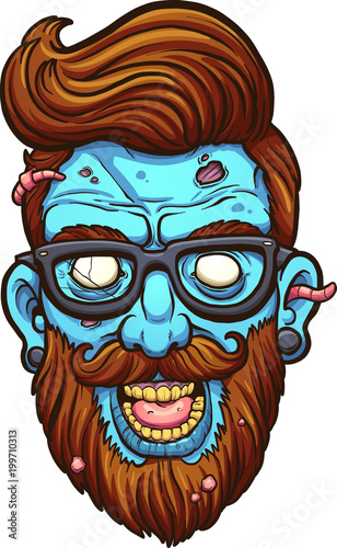 niebieska-glowa-zombie-z-broda-styl-hipsterski