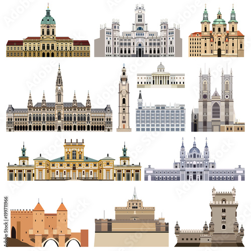 Foto  vector set of abstract castles, houses, buildings, palaces and other elements an