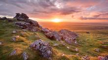 Vivid Sunset Fron Sourton Tor Dartmoor National Park Devon Uk