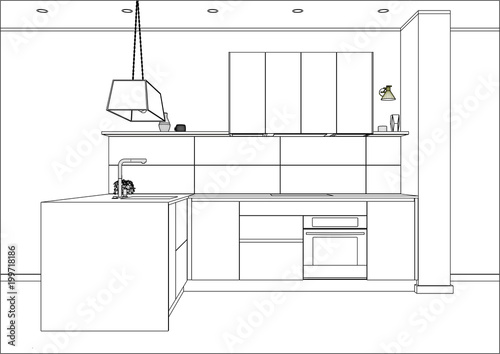 3d Vector Sketch Modern Kitchen Design In Home Interior Kitchen