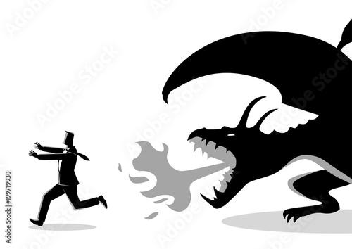 Poster de jardin Chambre bébé Businessman running away from a dragon