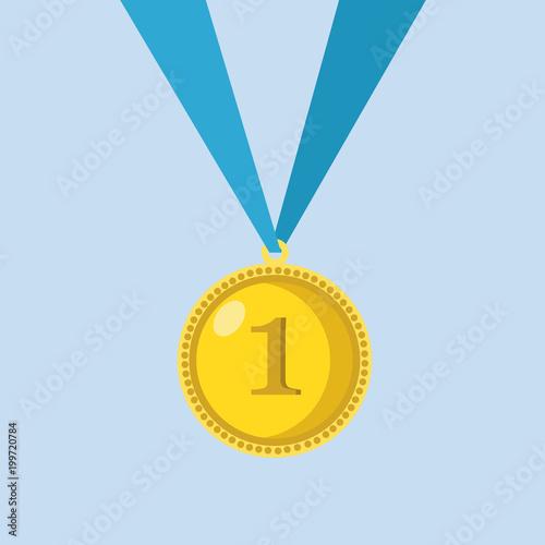 Golden Trophy Winner Award Isolated On Blue