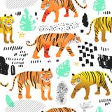 Bezszwowy wzór z Ślicznymi tygrysami. Dziecinne tło dzikich zwierząt dla tkanin, tapet, papieru do pakowania, dekoracji. Ilustracji wektorowych - 199722192