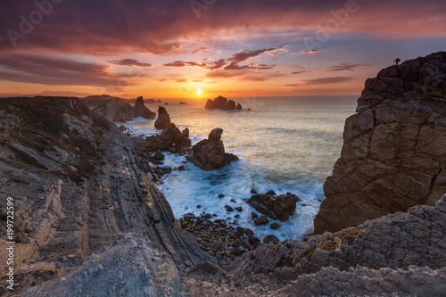 Sunset at Liencres, at Costa Quebrada in Cantabria