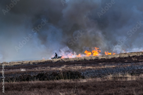 Burning the dead heather. North Yorks Moors Wallpaper Mural