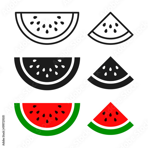 Fotografie, Obraz  Watermelon sliced ripe icon, vector isolated melon symbol set isolated on white