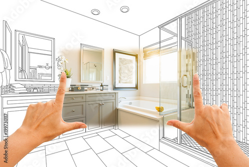 Fotografie, Obraz  Hands Framing Custom Master Bathroom Photo Section with Drawing Behind