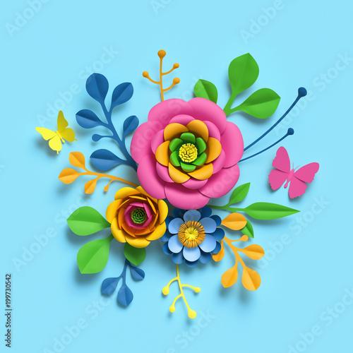3d render, craft paper flowers, round floral bouquet, botanical arrangement, bright candy colors, nature clip art isolated on sky blue background, decorative embellishment