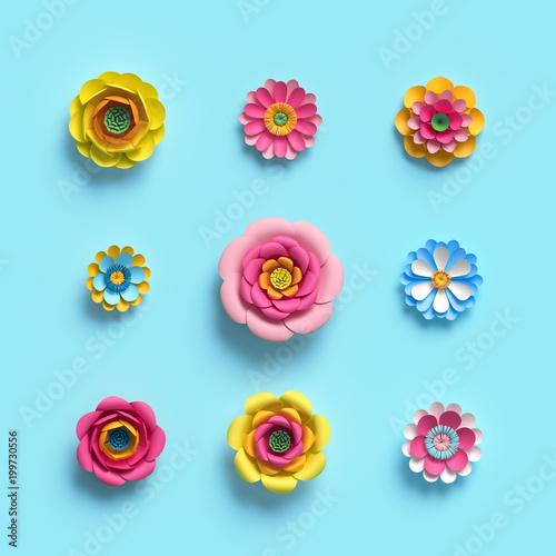 3d render, craft paper flowers, floral clip art set, botanical design elements, bright candy color, isolated on sky blue background, decorative embellishment
