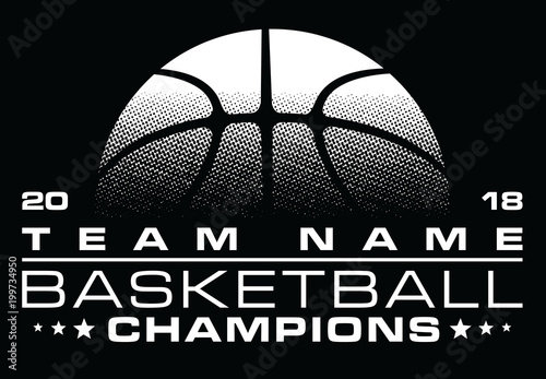 Photo Basketball Champions Design With Team Name is an illustration of a stylized one color basketball design that can be used for t-shirts, flyers, ads or anything else you use to promote your team
