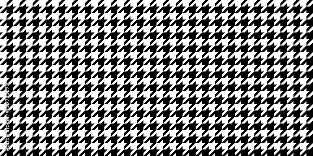 Photo  Monochrome Black & White Seamless Houndstooth Pattern Background