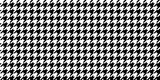 Monochrome Black & White Seamless Houndstooth Pattern Background. Traditional Arab Texture. Fabric Textile Material. - 199735579