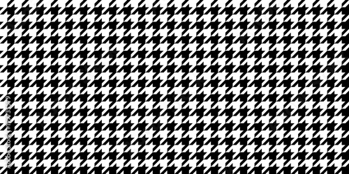 Aluminium Prints Fabric Monochrome Black & White Seamless Houndstooth Pattern Background. Traditional Arab Texture. Fabric Textile Material.