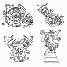Set Of Drawings Of Engines - M...