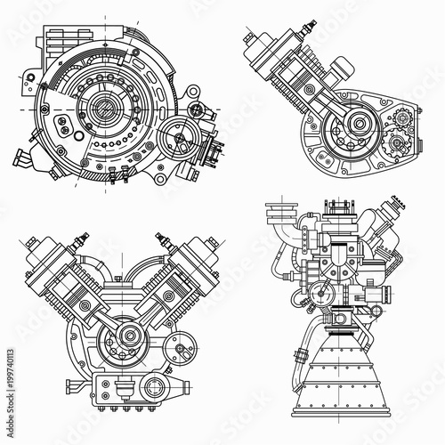 Set of drawings of engines - motor vehicle internal combustion engine, motorcycle, electric motor and a rocket Wallpaper Mural