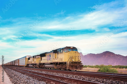 Cuadros en Lienzo Freight train crossing US Arizona desert.