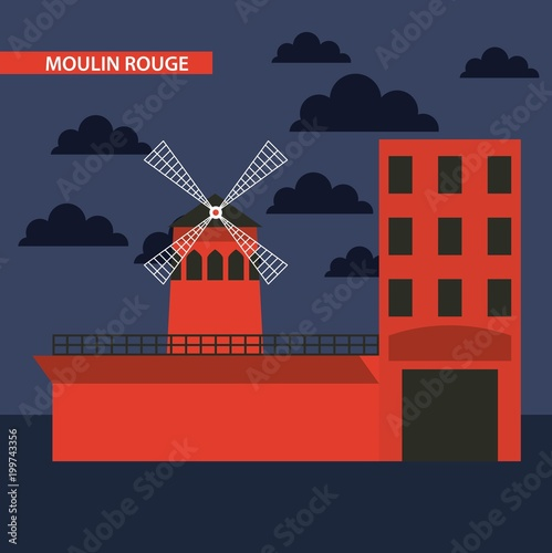 Photo landmark of the world moulin rouge cabaret france vector illustration