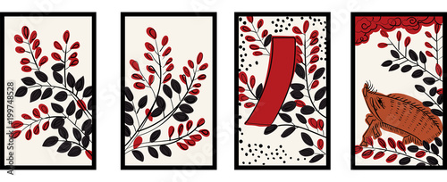 Tela  花札のイラスト|7月萩 萩に猪|日本のカードゲーム |ベクターデータ |手描き・フリーハンド