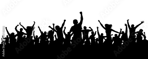Joyful mob. Crowd cheerful people silhouette. Applause crowd. Happy group friends of young people dancing at musical party, concert, disco. Sports fans, applause, cheering. Vector on white background - 199749316