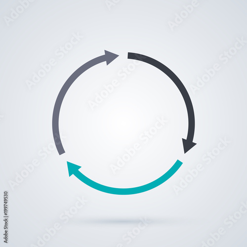 Fototapeta Round cycle template with three segments in elegant business style on white background