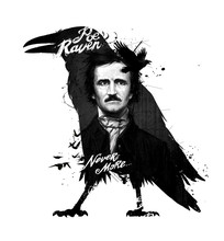 Edgar Allan Poe, Drawing On Isolated White Background For Print And Web.Black And White Composition And Calligraphy For The Interior. Painting Graffiti On The Wall. Tattoo Of The Great Poet.