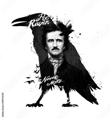 Photo Edgar Allan Poe, drawing on isolated white background for print and web