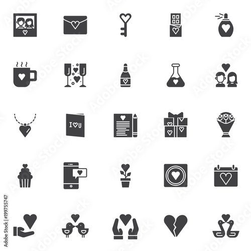 Love Vector Icons Set Modern Solid Symbol Collection Filled Style