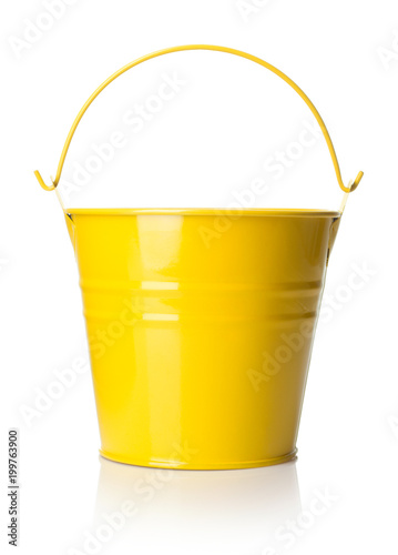single yellow bucket isolated on white background Wall mural