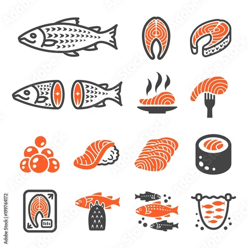 salmon icon set Fototapeta