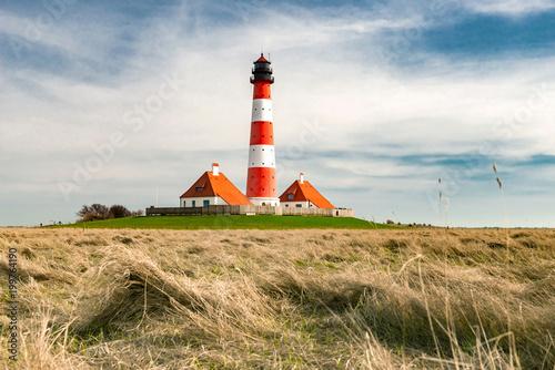 Foto op Aluminium Vuurtoren Westerhever Leuchtturm - 7753