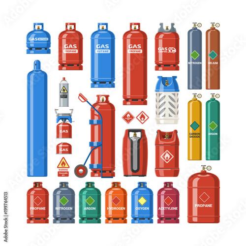 Fotomural  Gas cylinder vector lpg gas-bottle and gas-cylinder illustration set of cylindri