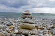 Small zen stone tower on the beach