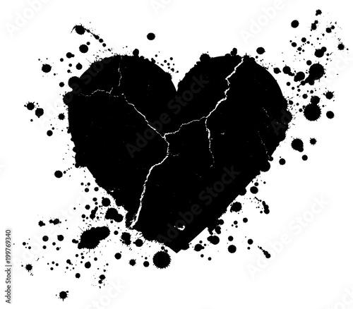 Foto op Aluminium Vlinders in Grunge Grunge heart shape and paint blobs splattered