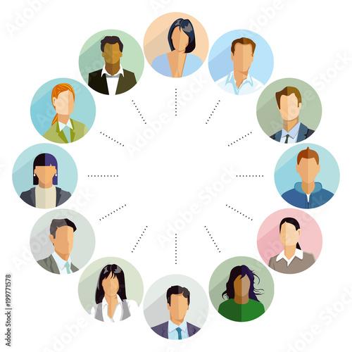 Photo Gruppen von Kandidaten, Illustration