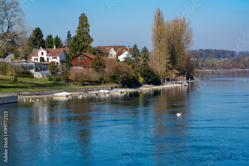 View of The Rhine River at the old swiss town Stein Am Rhein
