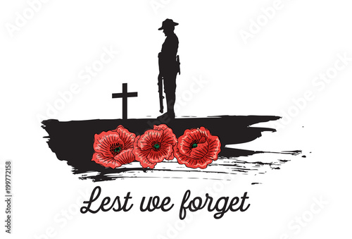Anzac Day Banner, Silhouette of soldier paying tribute, Vector Wallpaper Mural