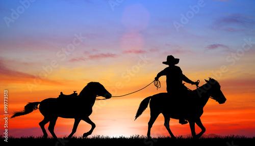 Printed kitchen splashbacks Panther silhouette Cowboy riding a horse on sunrise