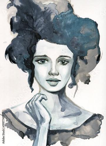 Tuinposter Schilderkunstige Inspiratie Watecolor portrait of a woman.