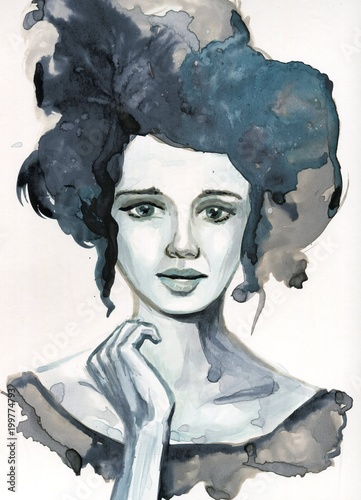 Spoed Foto op Canvas Schilderkunstige Inspiratie Watecolor portrait of a woman.