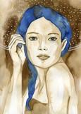 Watecolor portrait of a woman.  - 199775301