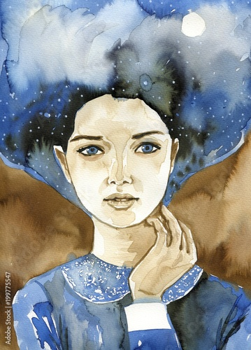 Papiers peints Inspiration painterly Watecolor portrait of a woman.