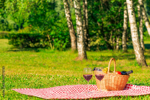 Poster Picnic checkered tablecloth on a green lawn in the park with a basket for a picnic. In the basket fruit and red wine